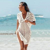 ملابس السباحة النسائية 2021 أزياء المرأة الصيف واقية من الشمس اللباس، بلون جوفاء الخامس الرقبة قصيرة الأكمام ملابس السباحة للبنات، أبيض / أسود