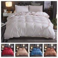 Conjuntos de ropa de cama 2021 Estilo 2 o 3 unids Impresión en color liso Tapa de edredón suave 1 Edredón + 1/2 Pillowcasas Single Twin Reina completa Rey