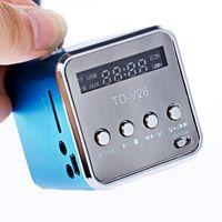 مصغرة راديو FM الرقمية المتكلم المحمولة أجهزة الراديو أجهزة الاستقبال مع LCD ستيريو مكبرات الصوت دعم Micro TF بطاقة TD-V26
