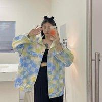Women's Jackets Autumn Women's Casual Korean Style Loose Wild Denim Color Plaid Long-sleeved Jacket