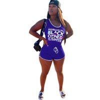 Rompers Femmes Lettres Noir Jumpsuit imprimé Slim Gilets sans manches Shorts Jumpsuits Cordon de cordon Pantalon court One Piece Support G68ZE4O