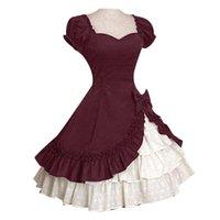 Повседневные платья Лолита Женщины Средневековый рюшковый Многотазное Бантика Платье с коротким рукавом Бальное платье