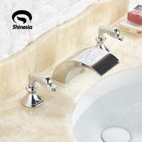 Chrom / Gold Swan Modern Type Badezimmer Dusche Wasserhahn Hot Cold Deck Mount Dual Griff Drei Löcher Badewanne Mischbatterie