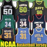 NCAA UCLA Reggie Miller Ray Larry Allen Bird Iverson Jersey Reggie Grant Miller Hill David Julius Robinson Arving College Basketball Jersey