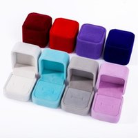 Cajas de regalo de joyería de terciopelo Anillos de diseño cuadrado Mostrar caja Caja de embalaje de pareja de fiestas de bodas Caja de envasado de joyas para pendientes de anillo 55 * 50 * 45mm