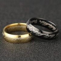 Cluster Rings The One Ring Sauron Elf Frodo Baggins Gollum JRR Tolkien Letter Gold Black Titanium Stainless Steel Movie Jewelry Men Wholesal
