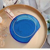 Diseñadores Transparent Crossbody Cosmetic Bags Fashion Redondo Rainbow Caja Cadena Bolsa de hombro PVC Bolso Mini Ladies Jelly Wally Bollete