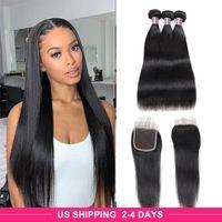 ISHOW 9A человеческие волосы пакеты с закрытием воды вьющиеся тела девственницы наращивания волос глубокие свободные 3 / 4шт с кружевной закрытием