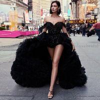 Trending Sexy Black Prom Tress A Rooms Ruffles Sequirs Sequins Colread Party Party с приемом плеча Красное ковровое платье