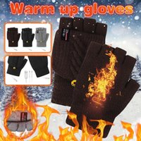 Hats, Scarves & Gloves Sets Electric Usb Heated Outdoor Winter Warmer Glove Thermal Half-finger Cover Rechargeable Office Cycling