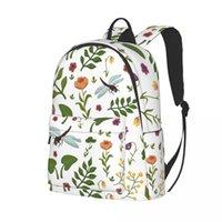 Backpack College School Bag Casual Hand Drawn Botanical Book Packbag For Teenager Travel Shoulder