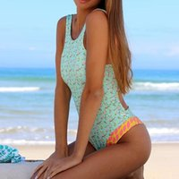 Two-piece Suits 2021 Swimming Suit For Women One Piece Monokini Swimwear High Neck Floral Print Swimsuit Bodysuits Bathing