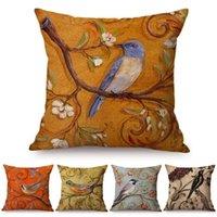 Cushion Decorative Pillow Vintage Style Oil Painting Birds Cushion Covers European Retro Flowers 3D Art Cover Cotton Linen Case
