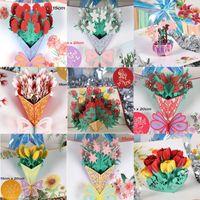 Greeting Cards 3D UP Happy Birthday Invitation Laser Cut Rose Flower Card Boy Friend Gift Soccer Club Miniatures Postcard