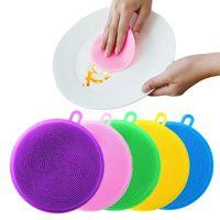 Silikon Çanak Kase Temizleyici Temizleme Fırça Bezleri Pot Pan Yıkama Fırçalar Mutfak Temizleyiciler Meyve Sebze Scrub Yalıtım Mat Pişirme Aracı WLL23