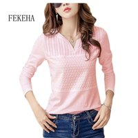 Fekeha blanc T-shirt Femmes Spring Automne Coton Femme manches longues T-shirt T-shirts Col V-Couze Tops Casual Tees Plus Taille 3XL 210302