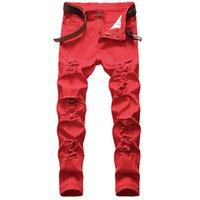 Elegante Mens Jeans Slightny Denim Calças Stretchy Motorbiker Jeans em 3 Cores Plus Size Men Roupas