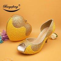 Платье Обувь Baoyafang Золотой Горный Хрусталь Женщины Свадьба с Подходящими Сумки Женщина Открытая Ночная платформа Женская Насосы Рыба