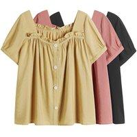 Женщины Блузки Рубашки 2021 Прибытие Aslea Rovie Регулярные повседневные Broadcloth Короткие Кнопка Сплошной квадратный Воротник China (Mainland)