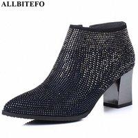 Allbitefo Natürliche Echtes Leder Frauen Stiefel Wasser Bohrer Dekoration Bequeme Knöchelstiefel Herbst Winter Mode Y7N2 #