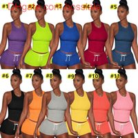 S-XXL 2021 الصيف المرأة مثير قصيرة مجموعة ملابس قطعتين مجموعة رياضية عداء ببطء الدعاوى تانك الأعلى + السراويل الصلبة لون sweatsuit الساخنة