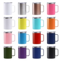 Reusable 16oz Coffee Mug With Handle Double Wall Stainless Steel Vacuum Insulated Wide Mouth Cups Beer Camping Travel Cup Tumbler Powder Coated Forest Sliding Lids