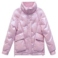 Women's Winter Down Jacket With Zipper Stand-up collar Korean Style Loose Glossy Thick parkas Warm embroidered FemaleCoat