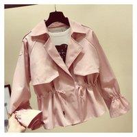 Women's Trench Coats 2021 Spring Women Casual Coat Fashion Lapel Long Sleeve Short Windbreaker Tie Up Solid Outerwear
