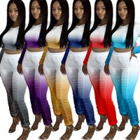 Womens 2pcs Stacked Pants Tracksuits Spring Summer Tie Dye Hot Sell Women Designer Sets Sport Fitness Running Clothing11