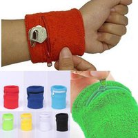 Wrist Support 2Pcs Zipper Wallet Pouch Running Sports Arm Band Bag Key Card Storage Cycling Basketball Wristband Sweatband