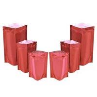 스토리지 가방 100pcs / lot 광택 붉은 마일러 호일 스탠드 가방 찢어진 노치 자기 인감 Doypack 음식 스낵 차 초콜릿 파우치