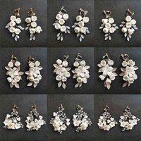SLBRITE El Yapımı Kristaller Inci Ceram Çiçek Gelin Dangle Küpe Düğün Avize Moda Kadınlar Takı 210625