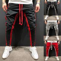 Homens Casual Stripe Basculador Calças Slim Fit Treino Running Sweatpants Com Bolso Homens Fitness Tracksuit Bottoms Skinny Calças K131