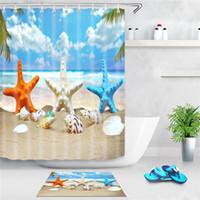 바다 해변 샤워 커튼 불가사리 쉘 인쇄 목욕 스크린 폴리 에스터 방수 샤워 커튼 장식 후크와 함께