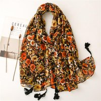 Scarves 2021 Ombre Flower Print Tassel Scarf Shawls Soft Floral Pattern Head Hijab Wrap