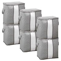 Storage Bags 6PCS 90L Foldable Extra Large Capacity Bins With Clear Window,Closet Organizer Great For Clothes