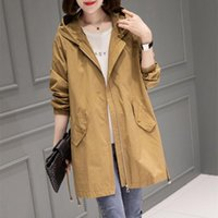 Women's Trench Coats Spring Autumn Size 4XL Hooded Windbreaker Mid-Length Coat 2021 Thin Female Casual Outerwear