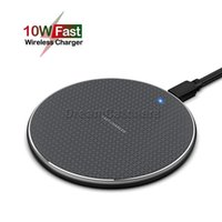 10W QI Quick Wireless Fast Charger Micro USB QC Mini Power Charging Station Metal Pad With LED Light For Iphone Samsung Mobile Smart Phone Colorful Universal