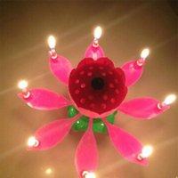 Innovador Partido Pastel Vela Musical Lotus Flower Rotar Feliz Cumpleaños Vela Luz Regalo Fiesta DIY Cake De Jllhlm