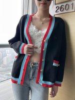 701 2021 Spring Brand Same Style Regular Short Crew Neck Cardigan Kint Sweater Dress Blue Sweater Fashion Womens Clothes yl