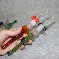 Vetro Nettare Collector Mini Tubi d'acqua Narghilè con quarzo Nail fumatori Ciotola 14mm Concentrato DAB Straw Oil Pan