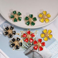 Stud 019 Design Fashion Jewelry Summer Style Small Fresh Drop Oil Alloy Flower Earrings Statement For Women Gift