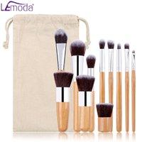 LEMODA Makyaj Fırçalar 11 adet / takım Bambu Kolu ile Toz Göz Farı Kaş Allık Karışım Güzellik Araçları Kitleri