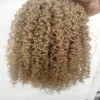 brazilian human virgin remy clip ins hair extensions kinky curls hair weft medum brown dark blonde color Dleop