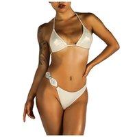 Bayanlar Yeni Sling V Yaka Elmas Bikini Kadın Seksi Bikini Kristal Elmas Strappy Plaj Iç Çamaşırı Bölünmüş Mayo S-XL #G