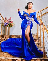 2021 Plus Size Arabic Aso Ebi Royal Blue Mermaid Prom Dresses Lace Beaded High Split Evening Formal Party Second Reception Bridesmaid Gowns Dress ZJ424