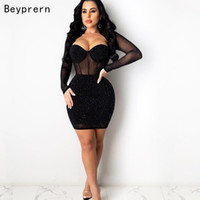 Casual Dresses Beyprern Glam Rhinestone Details Short Party Dress Womens Long Sleeve See-Through Crystal Skinny Club Chirstmas Outfits