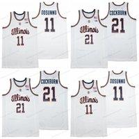 2021 Yeni Illinois Mücadele Illini College 11 Ayo Dosunmu 21 Kofi Horoz Basketbol Forması Erkek Dikişli Beyaz En Kaliteli