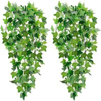 Decorative Flowers & Wreaths 2Pcs Artificial Hanging Plants Fake Ivy Garland Vine For Wall Home Garden Wedding Outside Decoration ( No Pots