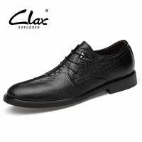 clax 남자 공식 신발 2019 봄 가을 남자 드레스 신발 정품 가죽 남성 사회 신발 악어 결혼식 신발 B7T9 #